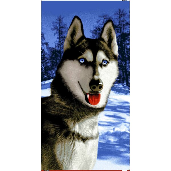Siberian Alaska Husky Endangered Wildlife 100% Cotton Beach Towel by The Beach Collection